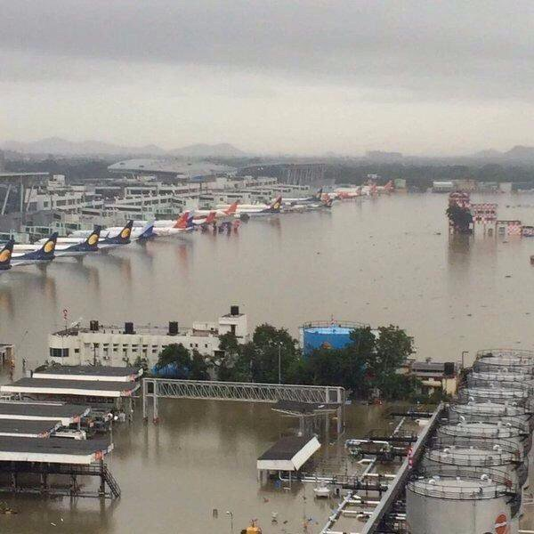 The Chennai international airport has been officially shutdown till Thursday morning due to the relentless downpour.   Sixty six arrivals and 53 departures have been cancelled as the runway is flooded.    Over 1,500 passengers who were stranded, are being evacuated.  Here are photos of the airport, you do not usually see, but which show how bad the situation is.