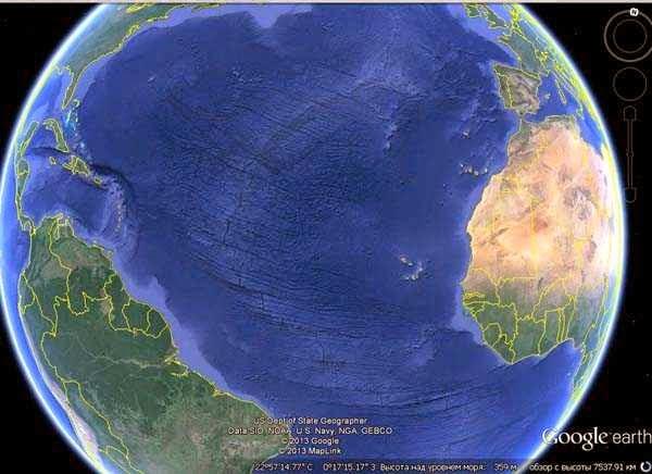 Crack, continental tectonic fault in the Atlantic Ocean