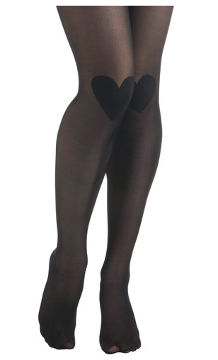 transparent black stockings with black hearts on the knee