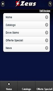 uno sreen shot dell'app di Zeus Sport