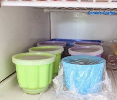 Chicken stock being frozen in jelly molds by Carole's Chatter