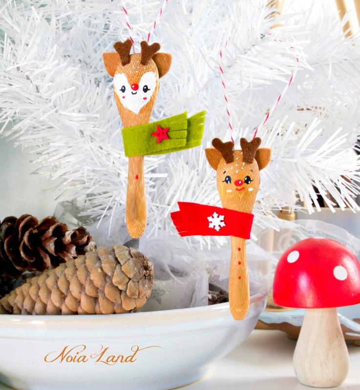 Noia land tutorial renos con cucharas de madera - Adornos navidenos de madera ...