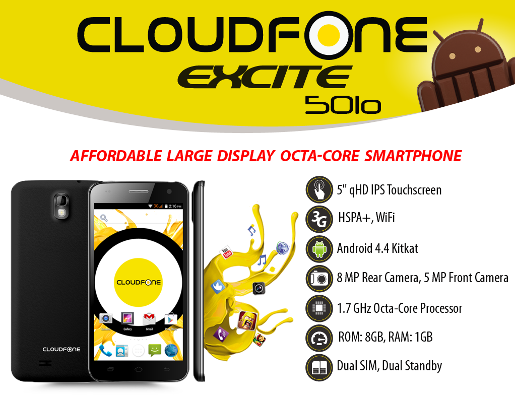 CloudFone Excite 501o Specs