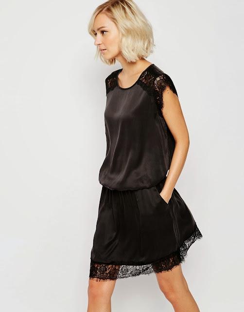 gestuz black dress lace shoulder