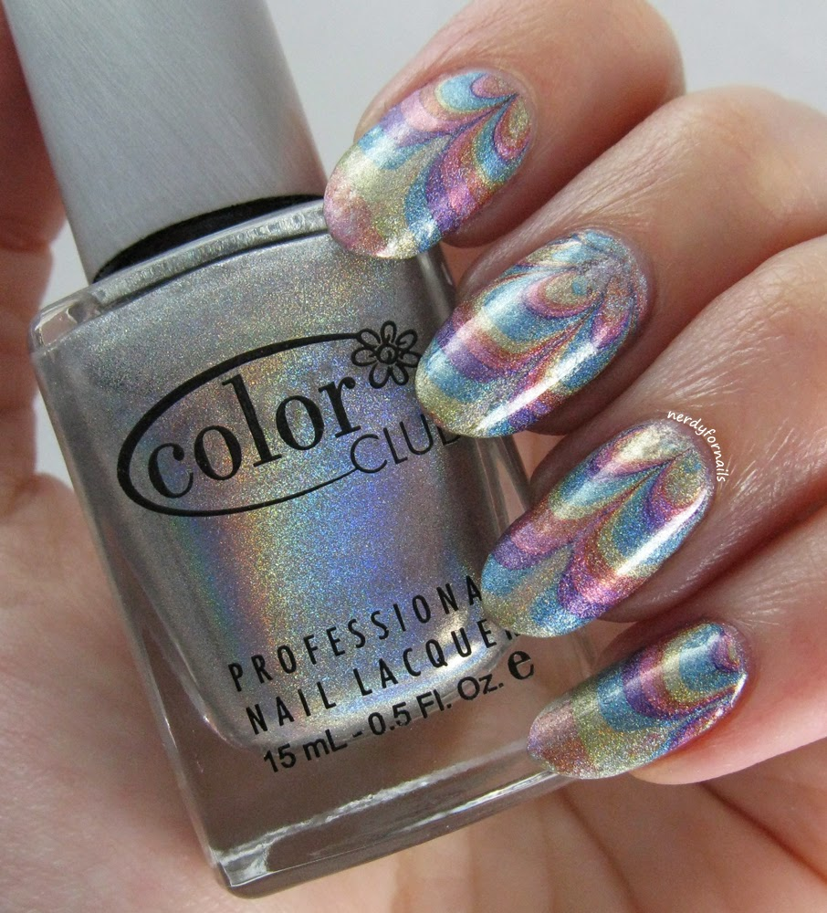 Nerdy for Nails: 30 Days of Colour: Holo Watermarble