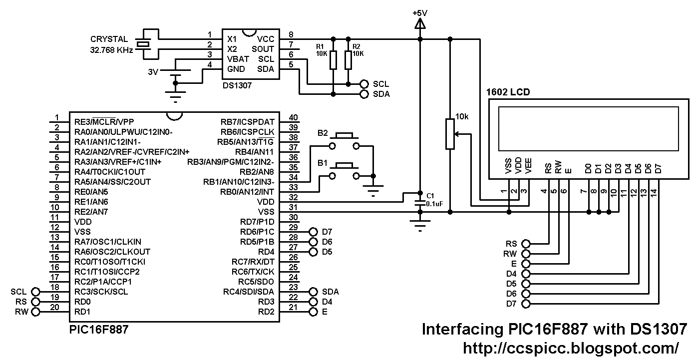 Ds1307 Interfacing With Pic16f887 Ds1307realtimeclockschematic And Rtc Circuit