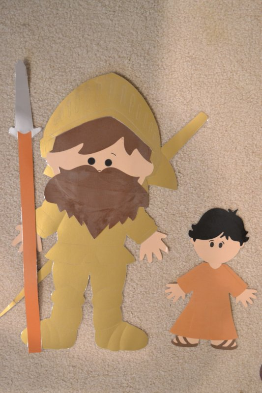 Bible class creations david and goliath story pieces for David and goliath craft