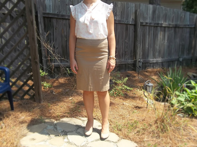 pink bow blouse khaki pencil skirt nude heels gold and pink jewelry outfit inspiration