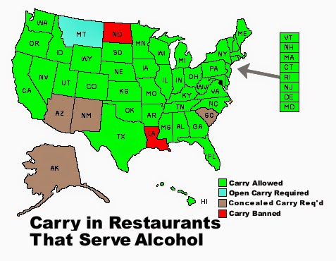 A Map Of The States That Allow The Carrying Of Fire Arms In Restaurants Source Opencarry Org