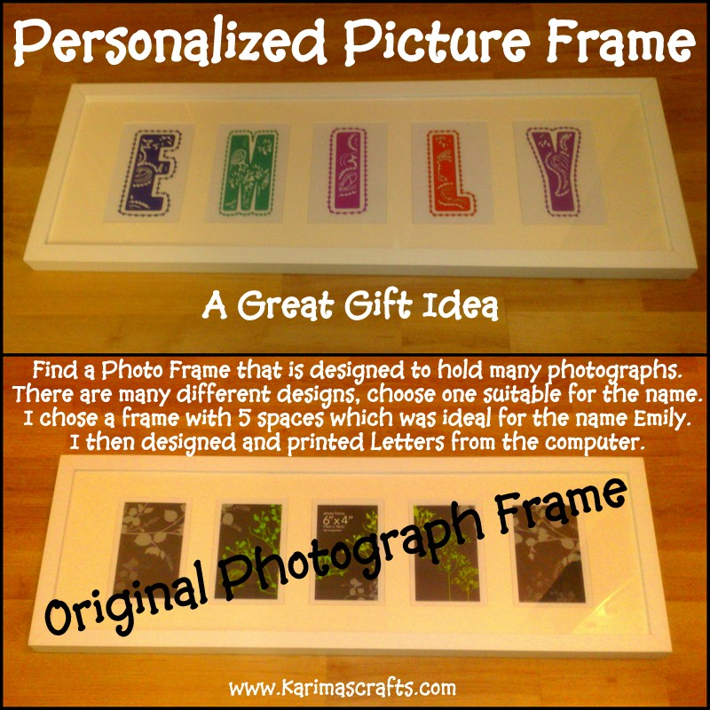 Karimas Crafts Diy Personalized Picture Frame Gift