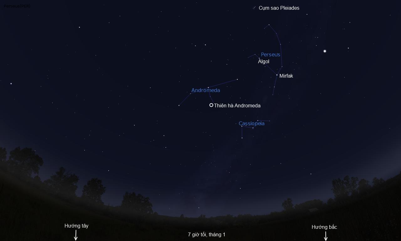 Ba chòm sao Cassiopeia, Andromeda và Perseus trên bầu trời hướng tây bắc ngay sau hoàng hôn. Hình minh họa bởi Stellarium.