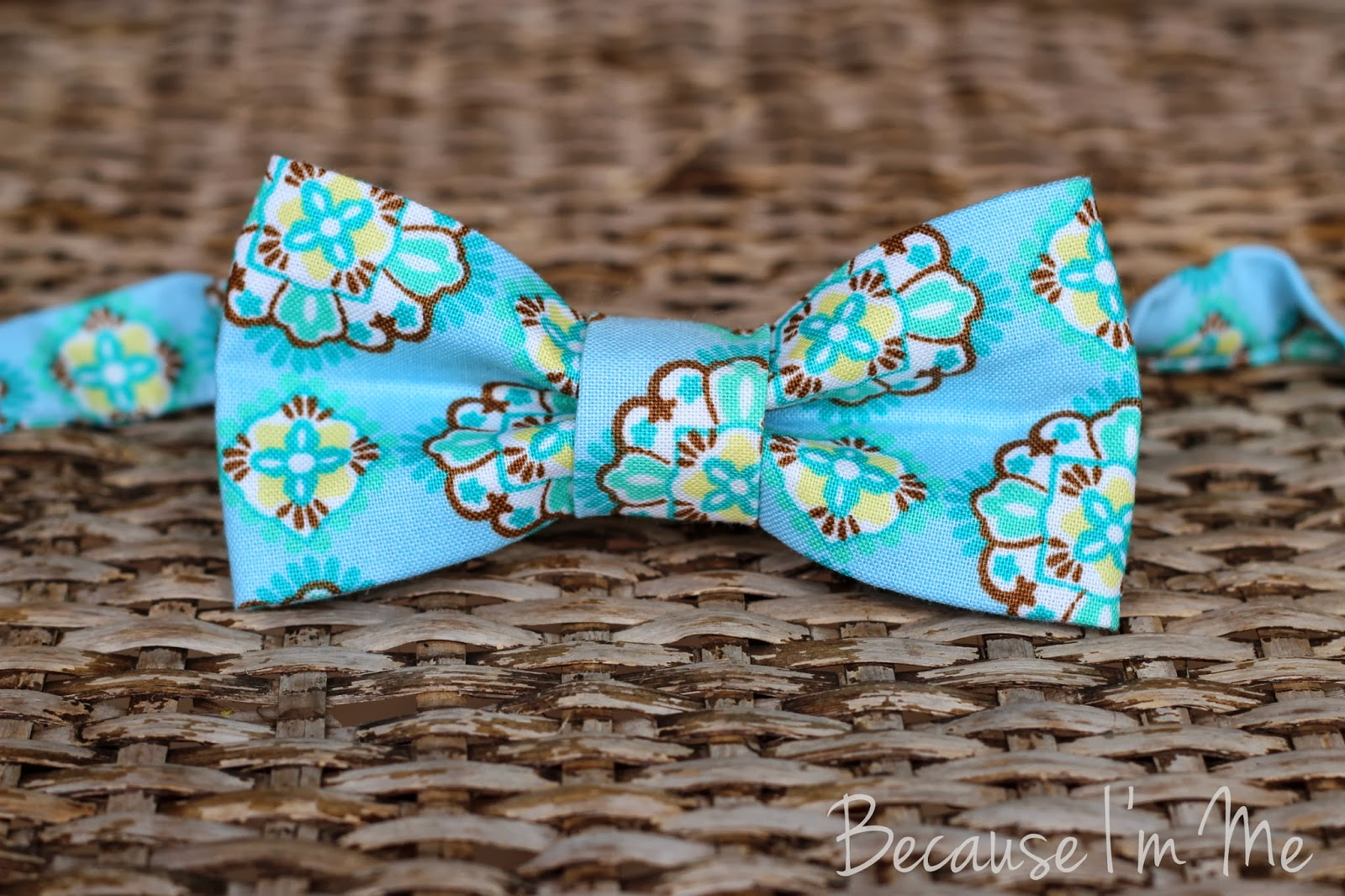 Because I'm Me infants, boys, and mens blue geometric print bow tie