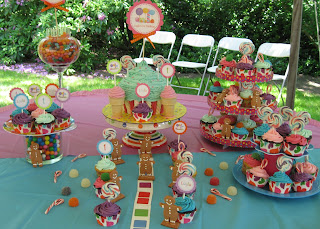 candy land cupcake display featuring giant cupcake and gingerbread men