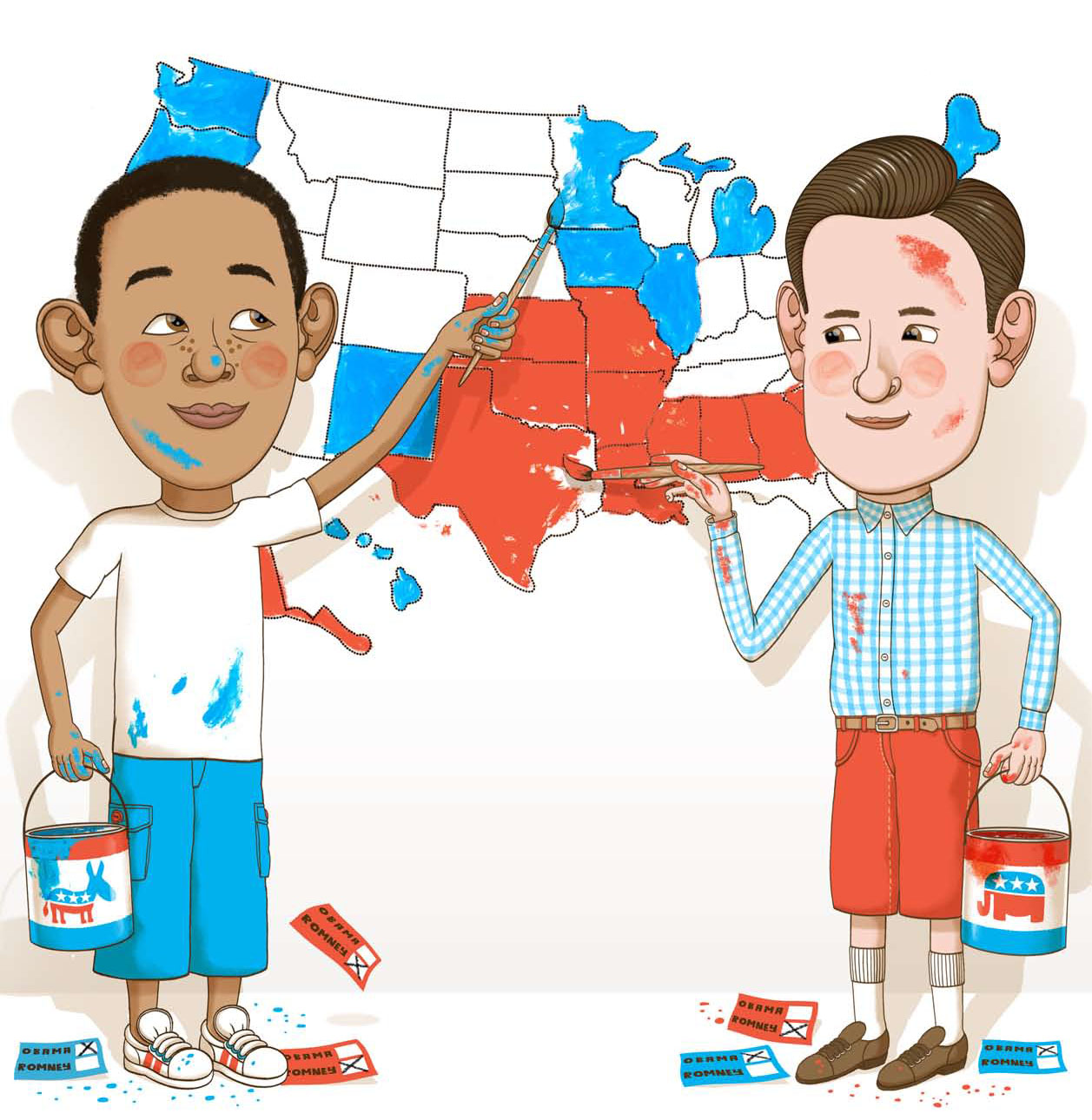Gerald  Cullen Rapp Childs Play The  Presidential Election - Us map red blue states 2012