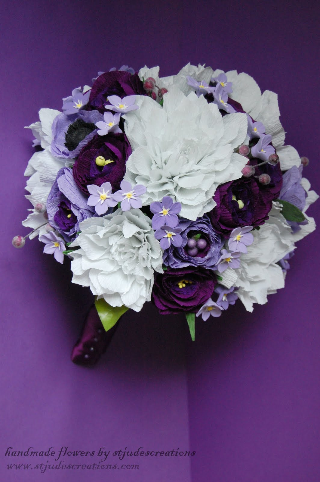 purple and lavender bridal bouquet dahlia ranunculus handmade paper flowers by maria noble. Black Bedroom Furniture Sets. Home Design Ideas