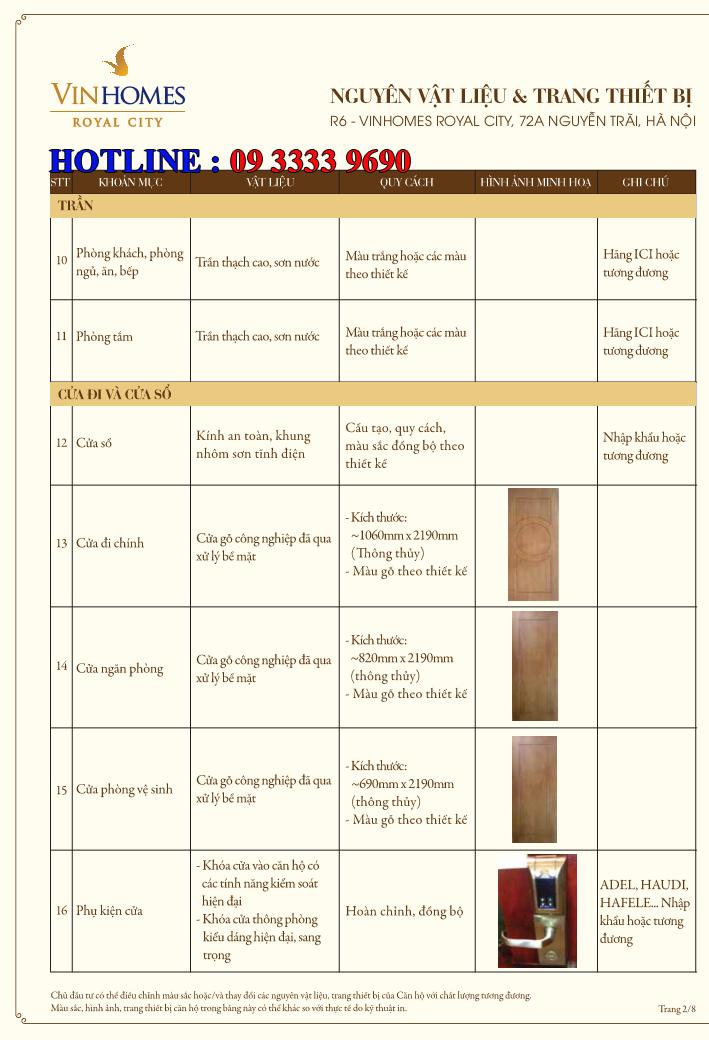 Bảng nguyên vật liệu căn hộ hạng sang Royal City R6 - Trang 2