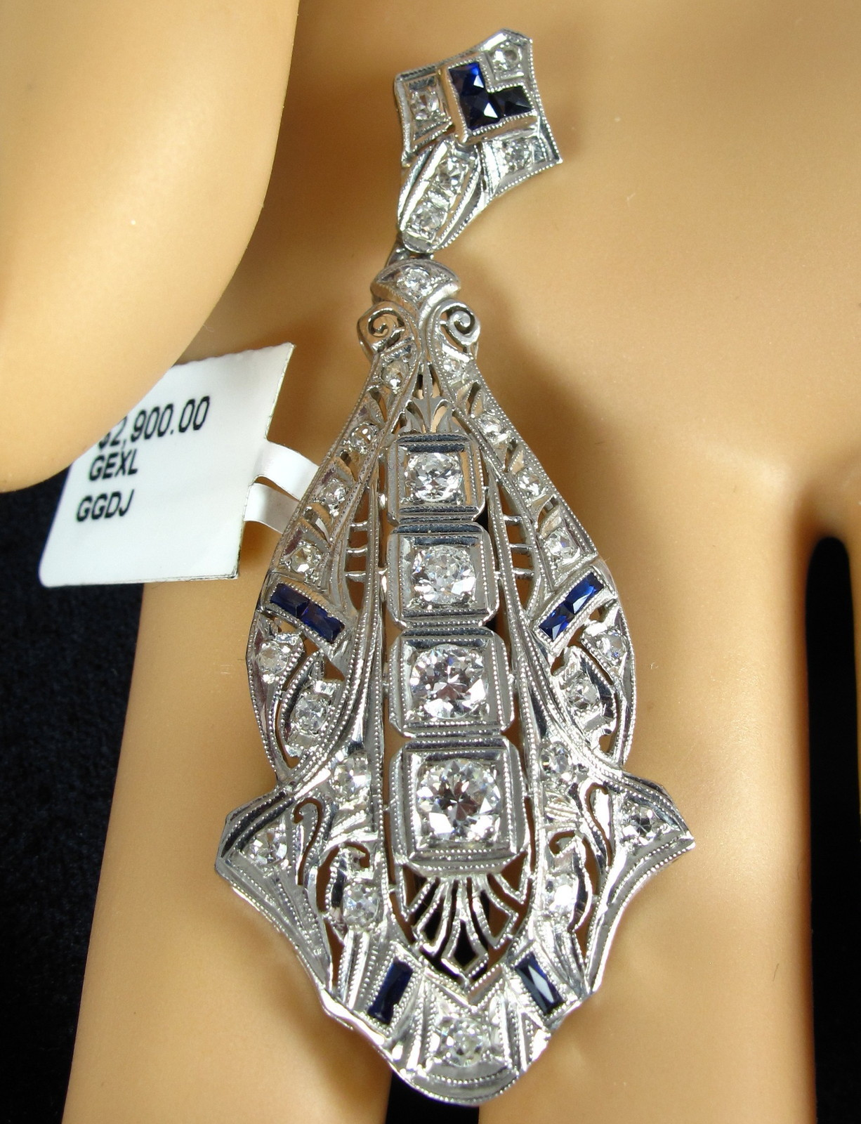 Delightfully deco antique diamond pendants diamond filigree pendant aloadofball Choice Image