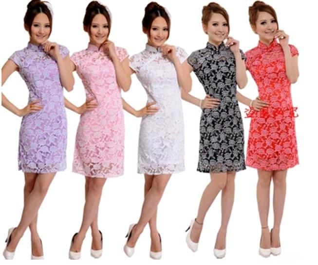 Short Sleeve Lace Short Cheongsam