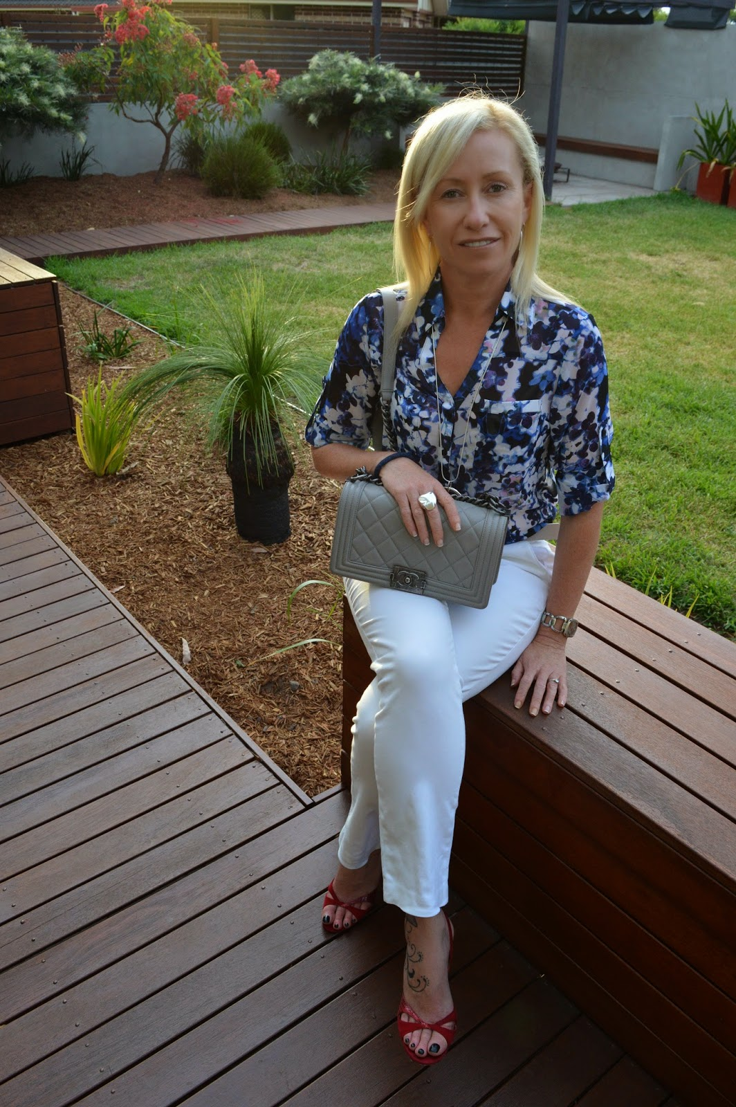 White Pants Floral Shirt Red Shoes Chanel Grey Bag