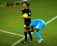 Nigeria goalkeeper Vincent Enyeama tries to pick up referee