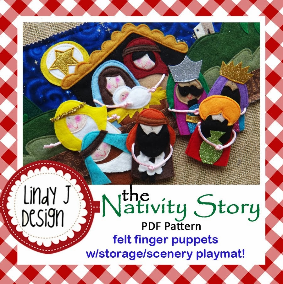 Nativity Finger Puppets/Playmat .PDF pattern