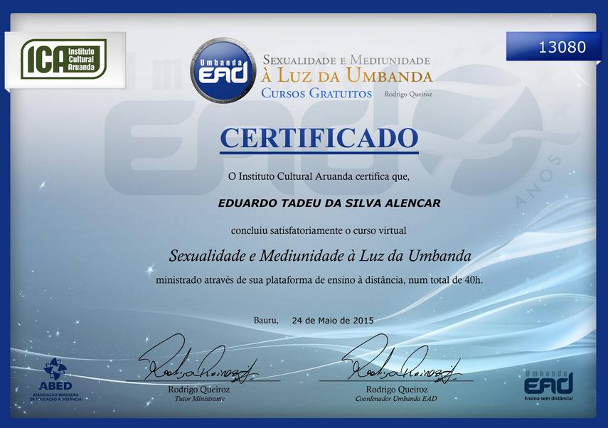 Certificado: Sexualidade à luz da Umbanda
