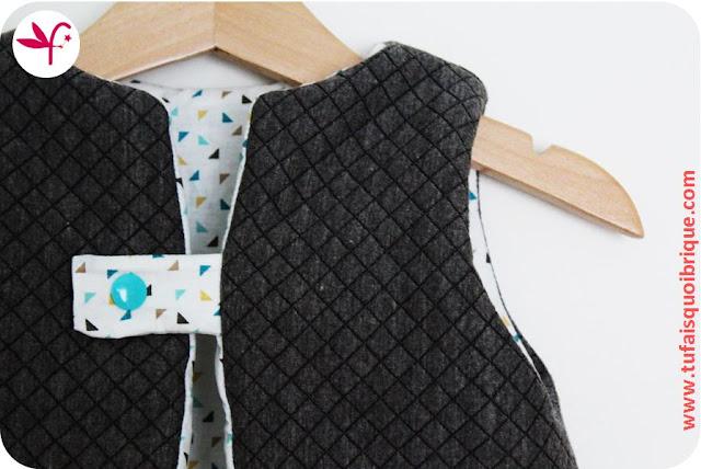 Gilet Molletonné en 18 mois en jersey matelassé doublé coton imprimé - Détail