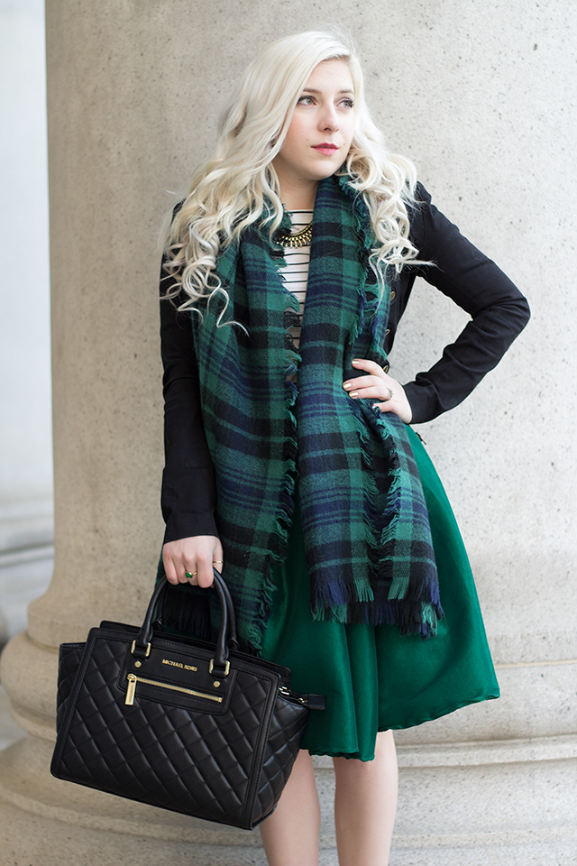 Emerald green midi skirt with a plaid blanket scarf, quilted Michael Kors bag, a striped shirt and a military inspired jacket.