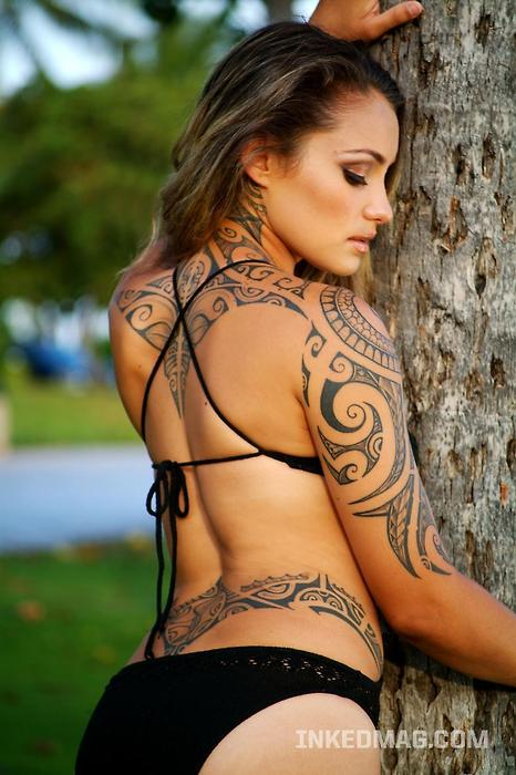 tribal body tattoos. female ody tattoos. female