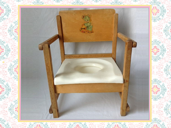 Cute Vintage Potty Chair   1950s Hedstrom Wooden Folding Potty Chair (OKC)