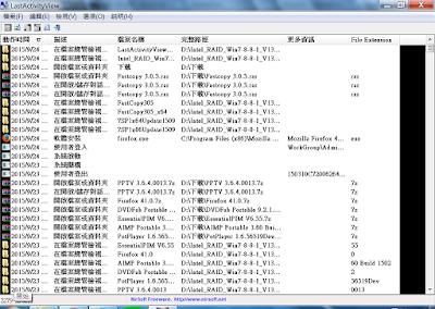 紀錄電腦操作動作、開啟過檔案及程式,LastActivityView V1.09 繁體中文綠色免安裝版!