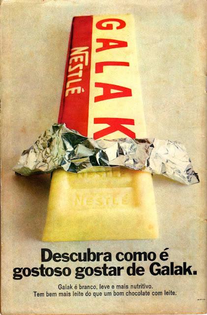 Propaganda do Chocolate Galak em 1970. Chocolate lançado na Suíça na década de 30.