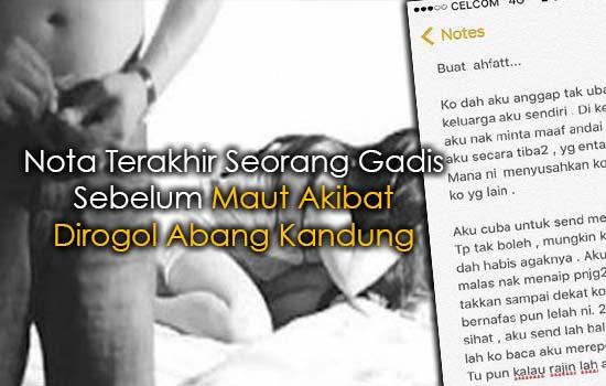 Nota Terakhir Seorang Gadis Sebelum Maut Akibat Dirogol Abang Kandung