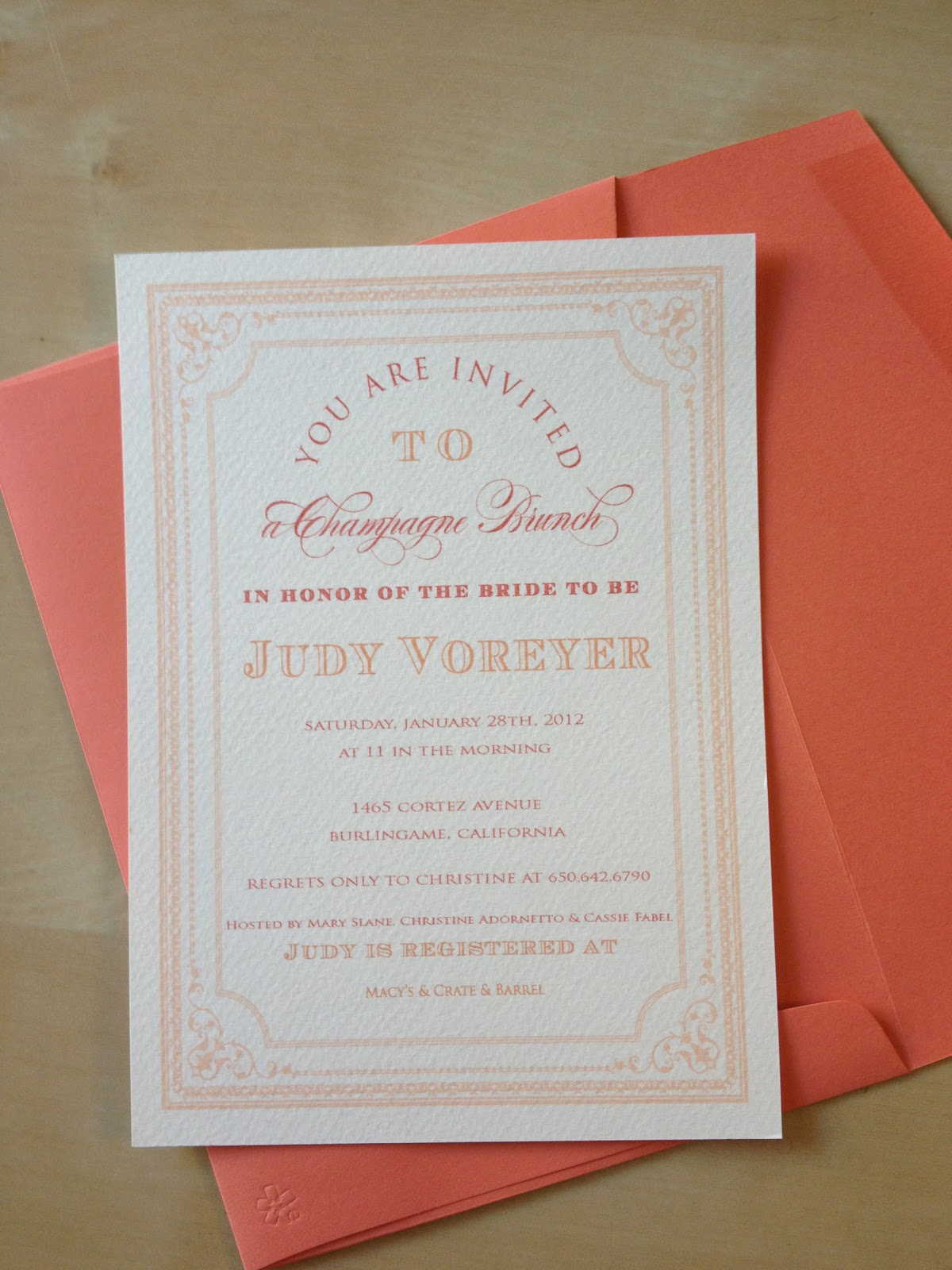 Stella bella invites champagne brunch bridal shower invite for Wedding brunch invitations