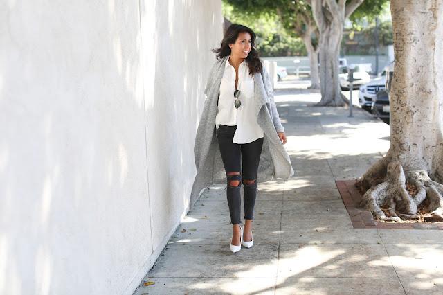 bb dakota long cardigan, how to wear long cardigan, j brand distressed denim, Kardashian kollection heels