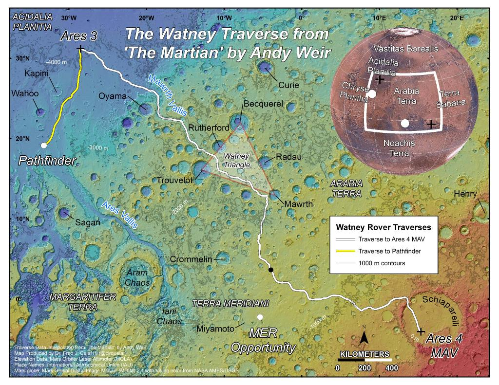 Mark Watney's travels from Ares 3 base in The Martian