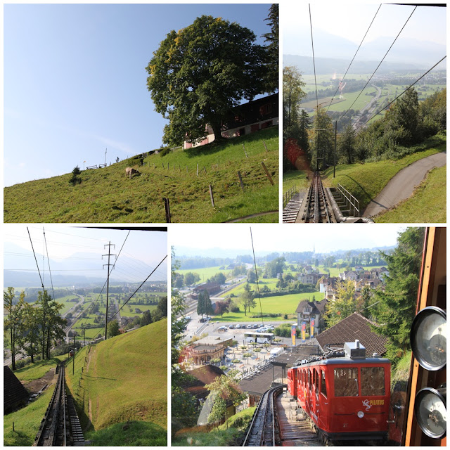 Panoramic views in the cogwheel train at Pilatus Kulm (Mount Pilatus) in Lucerne, Switzerland