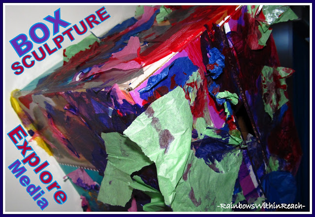 photo of: Box as Sculpture with Media Exploration in Early Childhood Classroom, Art Experiences for Children
