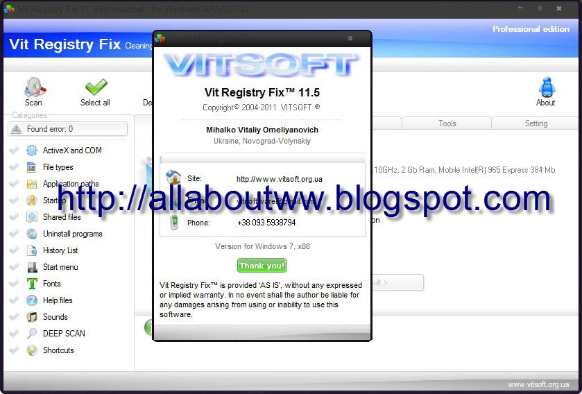 Vit Registry Fix Pro 11.5.0.0 + License Key