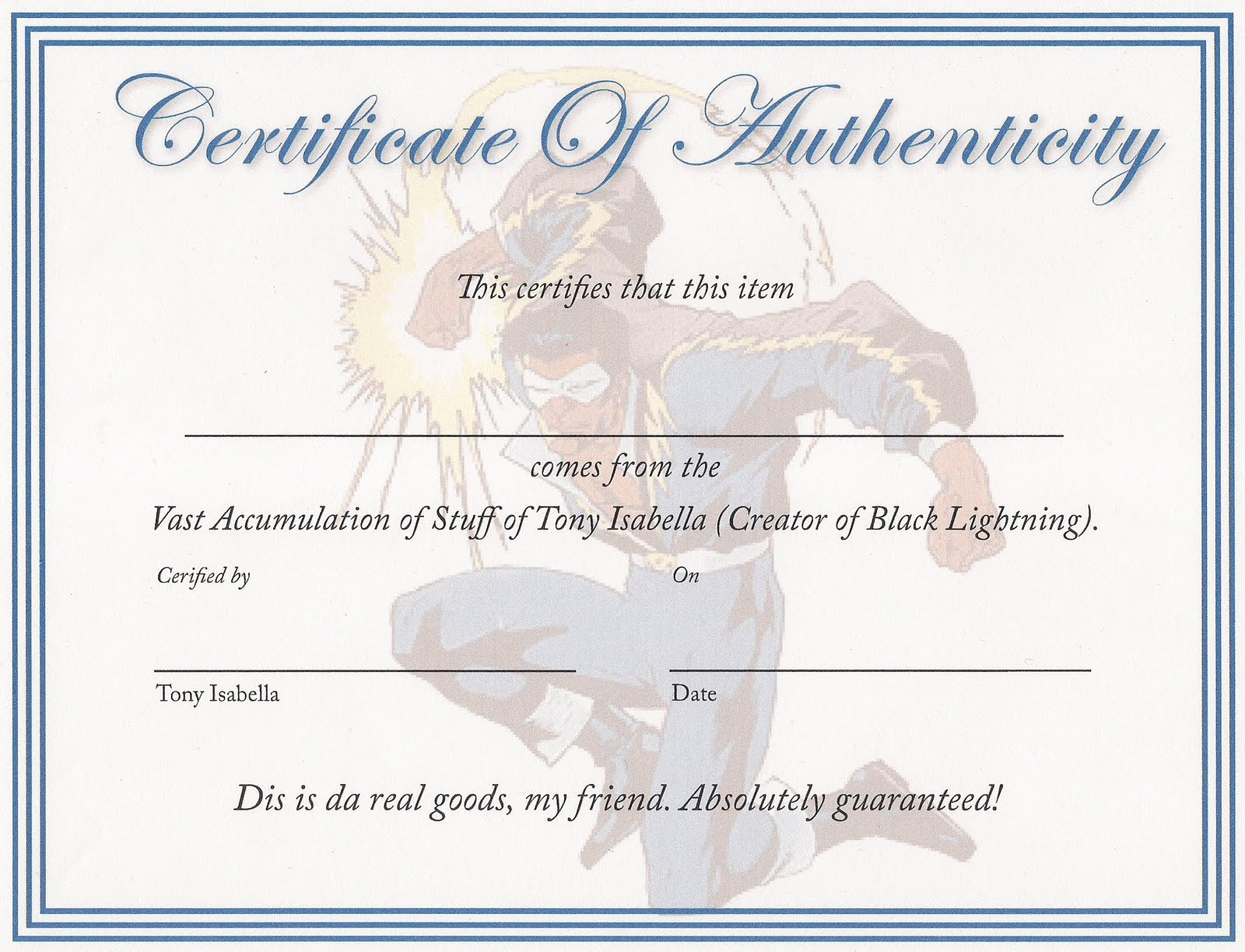Tony isabella 39 s bloggy thing tigra for Certificate of authenticity autograph template