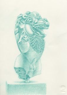 British Museum green pencil drawing