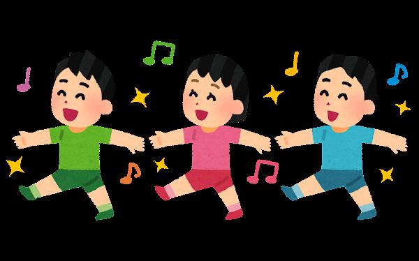 行進する子供たちのイラスト