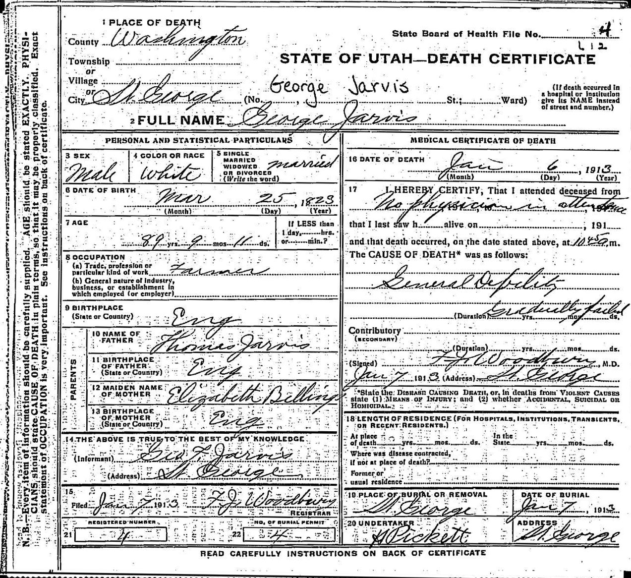 Theancestorfiles george and ann prior jarvis death certificates here are copies of the death certificates for george and ann prior jarvis george died on january 6 1913 1betcityfo Image collections
