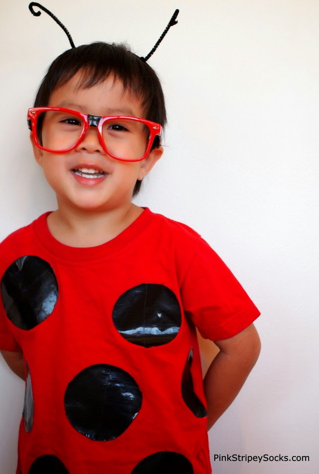 easy DIY duct tape ladybug costume for Halloween