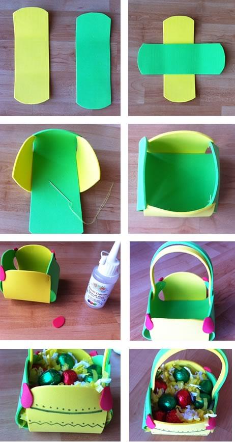 Como hacer cestas con goma eva - Imagui