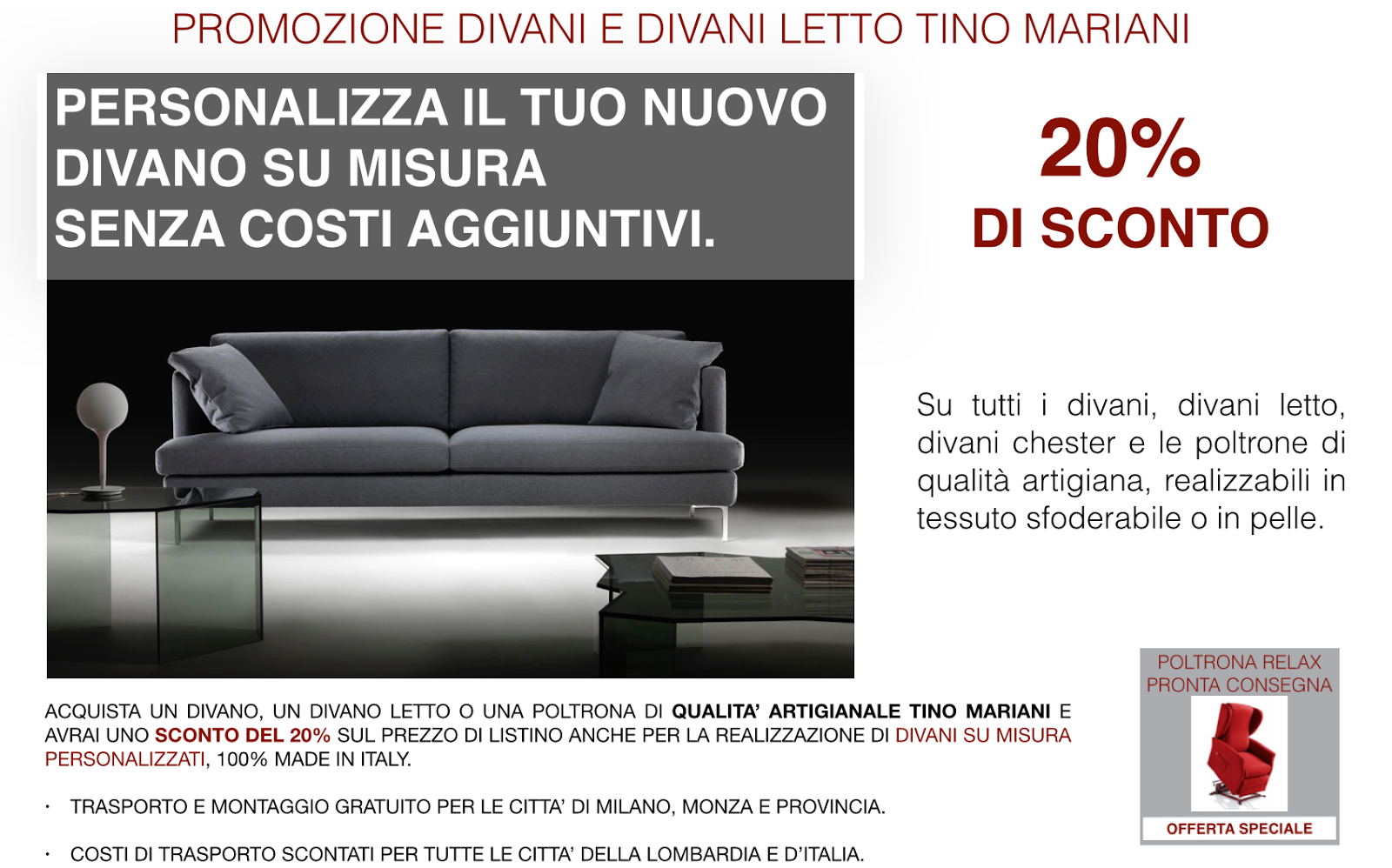 Nuova promozione divani online | Tino Mariani
