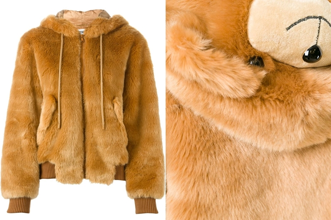 Moschino 2015 AW Teddy Bear Hooded Faux Fur Bomber Jacket