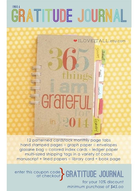 2014 Gratitude Journal Coupon Code | iloveitall.etsy.com