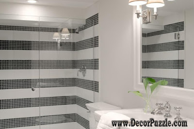 shower tile ideas, shower tile designs, tiling a shower, black and white striped tile shower