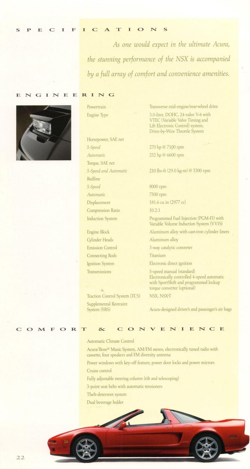Acura NSX japoński supercar sportowy samochód kultowy V6 RWD broszura